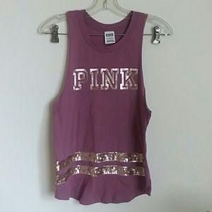 VS PINK mauve and rose gold sequin tank top xs